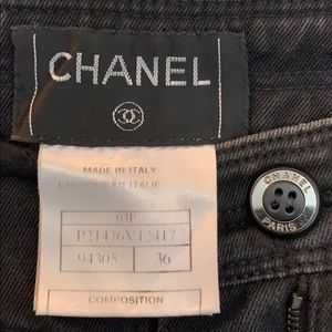CHANEL Super Wide Leg Washed Black Denim Jeans